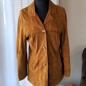 Frapp 38 Tan Suede Leather Button Jacket